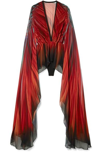 Elie Saab Bedruckter Body aus Chiffon und Jersey