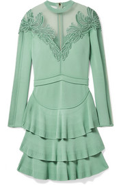 Elie Saab Appliquéd tulle-paneled stretch-knit mini dress