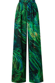 Elie Saab Printed silk-georgette wide-leg pants