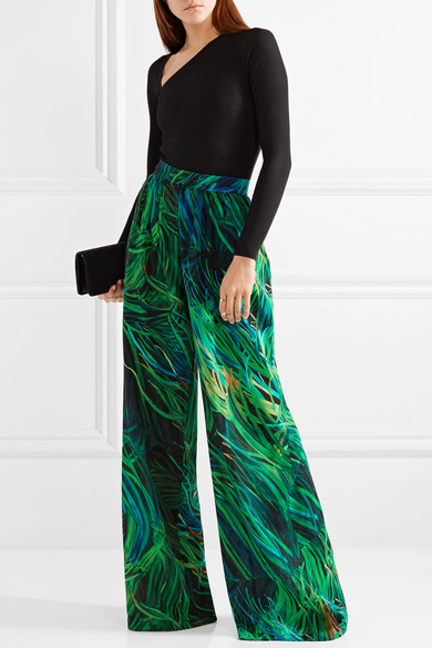 Pantalon Large Imprimé Elie Saab En Georgette De Soie