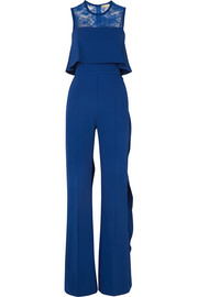 Elie Saab Ruffled lace-paneled stretch-crepe jumpsuit