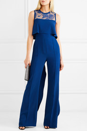 Ruffled lace-paneled stretch-crepe jumpsuit