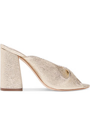 Laurel metallic textured-leather mules