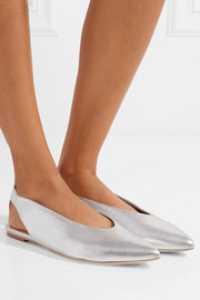 Eve metallic leather slingback flats
