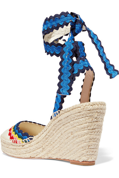 9710741e7d2 Loeffler Randall. Ginny rickrack-trimmed canvas wedge espadrilles.  147.50.  Zoom In