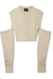 4a80b73aac CALVIN KLEIN 205W39NYC - Cold-shoulder cropped cable-knit wool-blend sweater