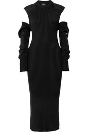 Cutout ribbed cotton midi dress
