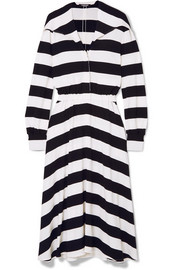 Striped stretch-jersey midi dress