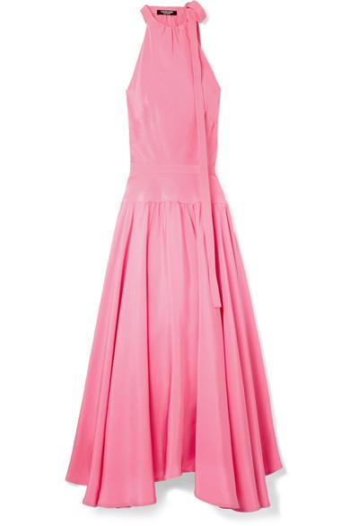 CALVIN KLEIN 205W39NYC - Bow-embellished Silk-cady Midi Dress - Pink