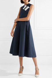 Grosgrain-trimmed cotton and silk-blend twill midi dress