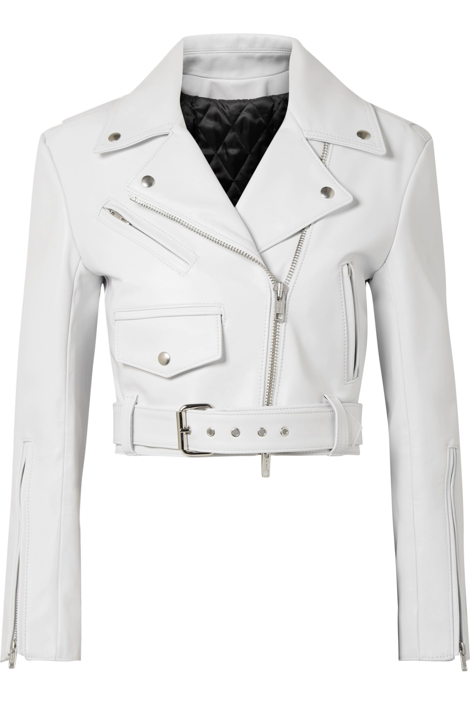 CALVIN KLEIN 205W39NYC Cropped leather biker jacket