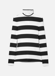 Striped stretch-jersey turtleneck top