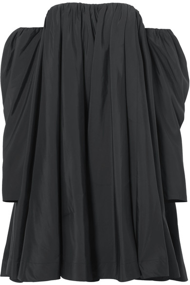 Off-the-shoulder Ruffled Shell Dress - Black CALVIN KLEIN 205W39NYC 8KnLXTWsvS