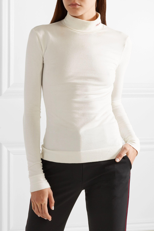 CALVIN KLEIN 205W39NYC Embroidered cotton-jersey turtleneck top