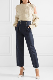 Cotton and silk-blend tapered pants