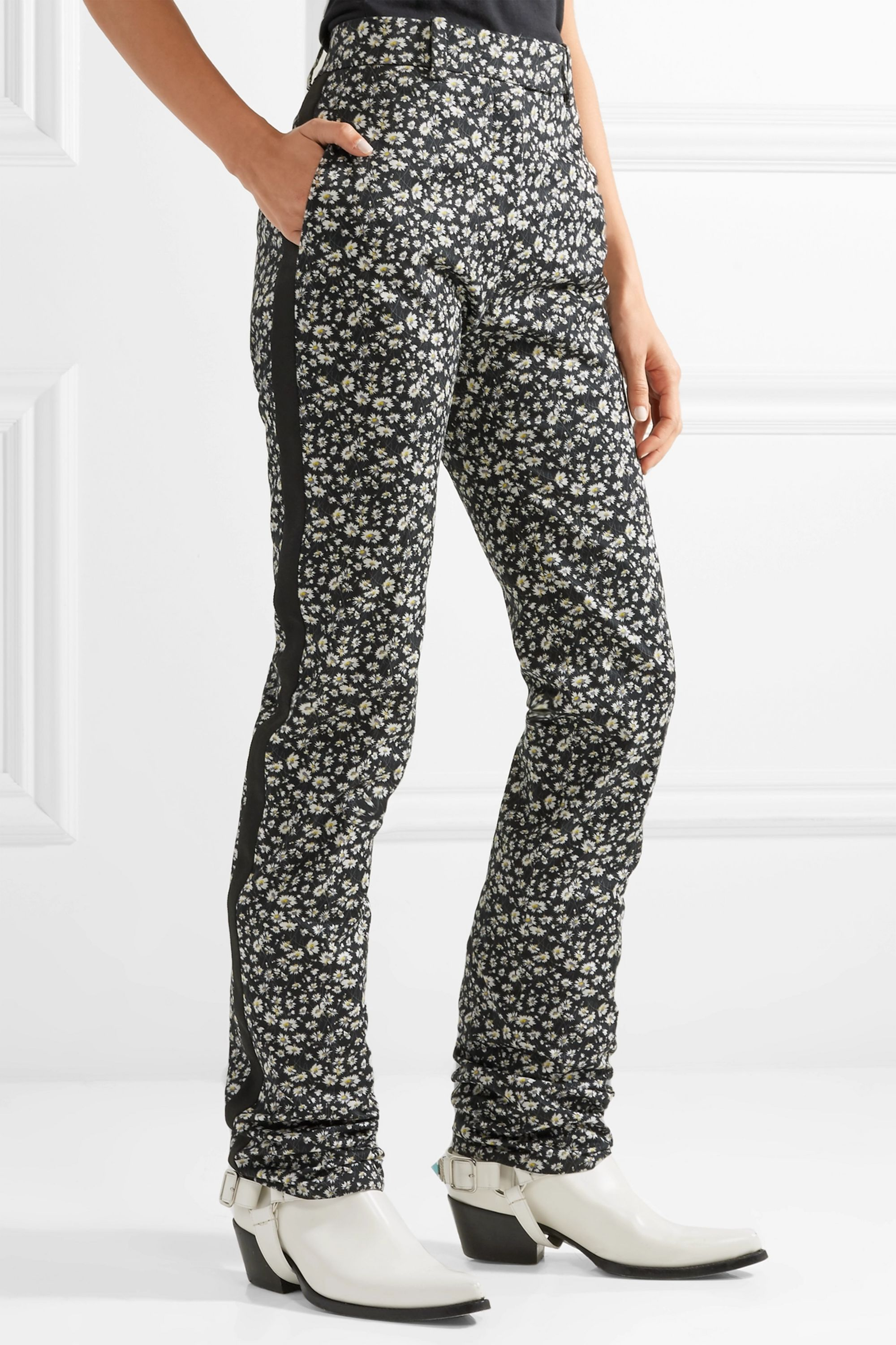 CALVIN KLEIN 205W39NYC Striped floral-print cotton-twill skinny pants