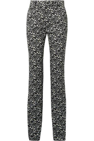 Striped Floral-print Cotton-twill Skinny Pants - Black CALVIN KLEIN 205W39NYC 7FK9vP
