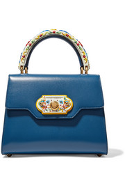 Dolce & Gabbana Welcome small painted wood and leather tote