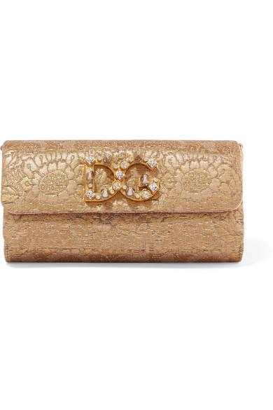 Dolce & Gabbana Dorina verzierte Schultertasche aus Metallic-Jacquard