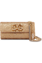 Dolce & Gabbana Dorina embellished metallic jacquard shoulder bag