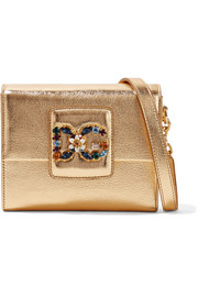 Dolce & Gabbana Millennials embellished metallic textured-leather shoulder bag