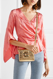 Millennials embellished metallic textured-leather shoulder bag
