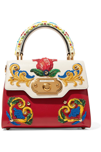 Welcome Small Embroidered Leather Tote, Red