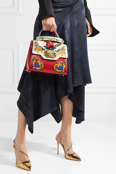 Dolce & Gabbana Welcome kleine Tote aus Leder mit Stickereien Günstig Kaufen Großen Rabatt MVLncmFT
