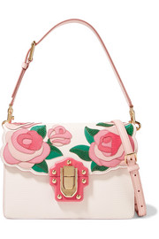 Lucia appliquéd ayers and lizard-effect leather shoulder bag
