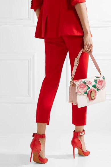 Dolce & Gabbana Lucia Schultertasche aus Ayersleder und Leder mit Eidechseneffekt und Applikationen