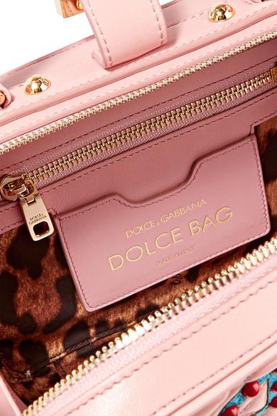 Dolce & Gabbana Lucia verzierte Schultertasche aus Wasserschlangenleder und gestepptem Leder