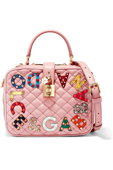 Dolce   Gabbana. Lucia embellished watersnake and quilted leather shoulder  bag fb9f03a69efd6