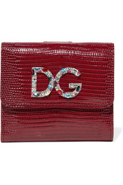 Dolce & Gabbana Embellished lizard-effect patent-leather wallet