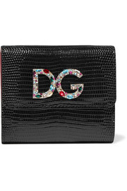 Embellished lizard-effect patent-leather wallet