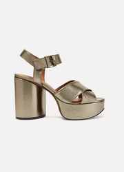 Vianne metallic leather platform sandals