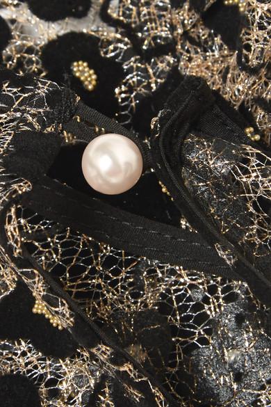 Opening Ceremony Minikleid aus schnurgebundener Spitze mit Flockdruck und Glitter-Finish