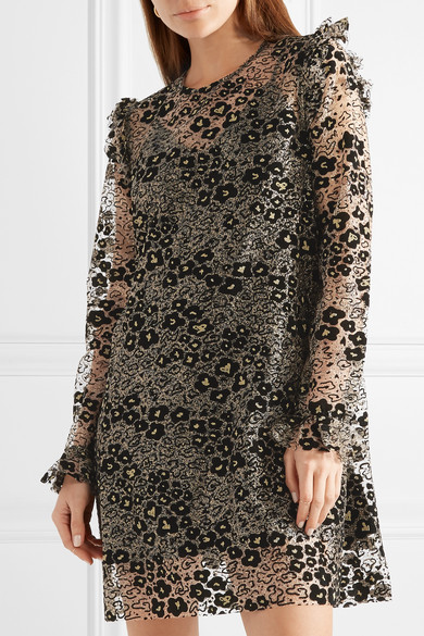 Glittered Flocked Corded Lace Mini Dress - Gold Opening Ceremony Geniue Stockist For Sale Cheap Sale Countdown Package View For Sale Cheap Price Pre Order ovhVbRyzM