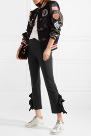 William cropped ruffle-trimmed stretch-cady skinny pants