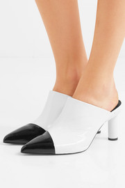 Liam two-tone crinkled patent-leather mules