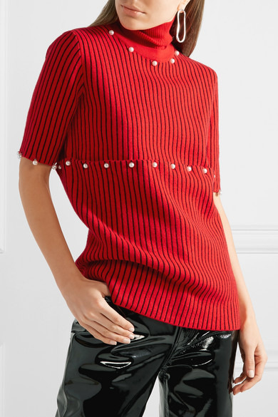 Opening Ceremony Convertible Turtleneck From Wool Jacquard With Art Pearl Ornaments