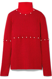 Convertible faux pearl-embellished wool-jacquard turtleneck sweater