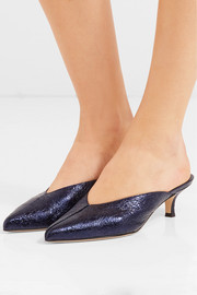 Frank metallic crinkled-leather mules