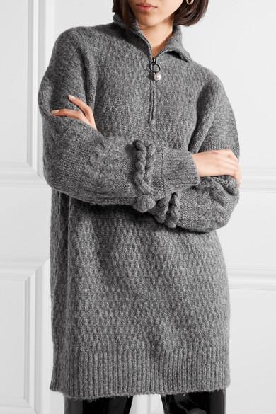 Opening Ceremony Oversized-Pullover aus einer Wollmischung mit Zopfstrickmuster Neueste Günstig Online Billig Verkauf Für Schön 6Ysg2RSMZY