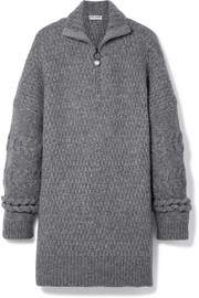 Oversized cable-knit wool-blend sweater