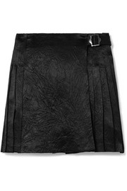 Pleated crinkled-satin mini skirt