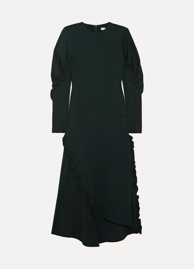 Tibi - Asymmetric Ruffled Crepe Midi Dress - Emerald