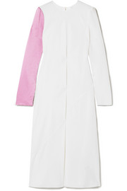 Tibi Two-tone silk-satin and crepe midi dress