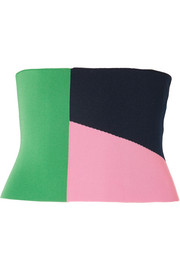 Tibi Color-block stretch-knit corset