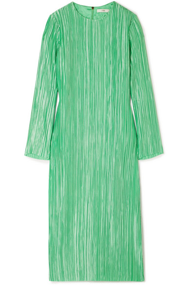 Tibi - Plissé-satin Midi Dress - Green