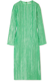 Tibi Plissé-satin midi dress
